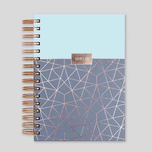 Matilda Myres 2019-20 Rose Gold Wiro A5 Daily Mid Year Diary – Blue – MY105-02D