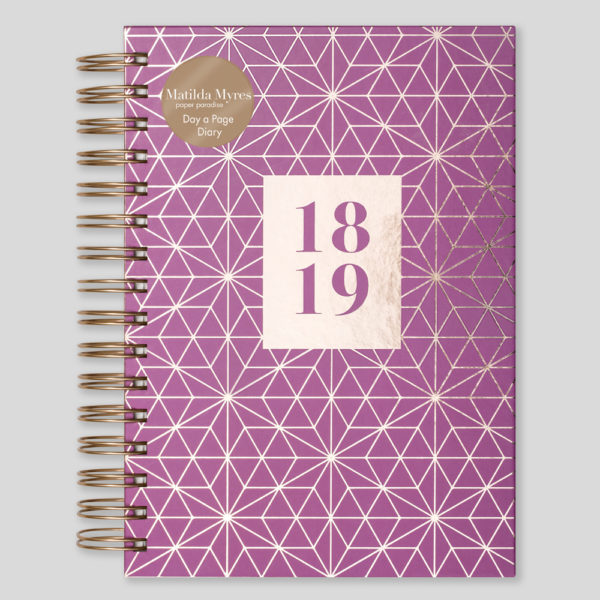 Matilda Myres 2018-19 Rose Gold Wiro A5 Daily Diary – Plum – MY105-03