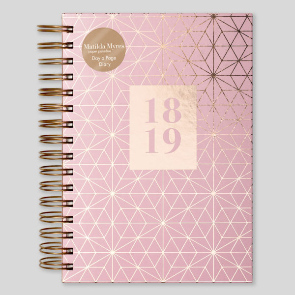 Matilda Myres 2018-19 Rose Gold Wiro A5 Daily Diary – Pink – MY105-01