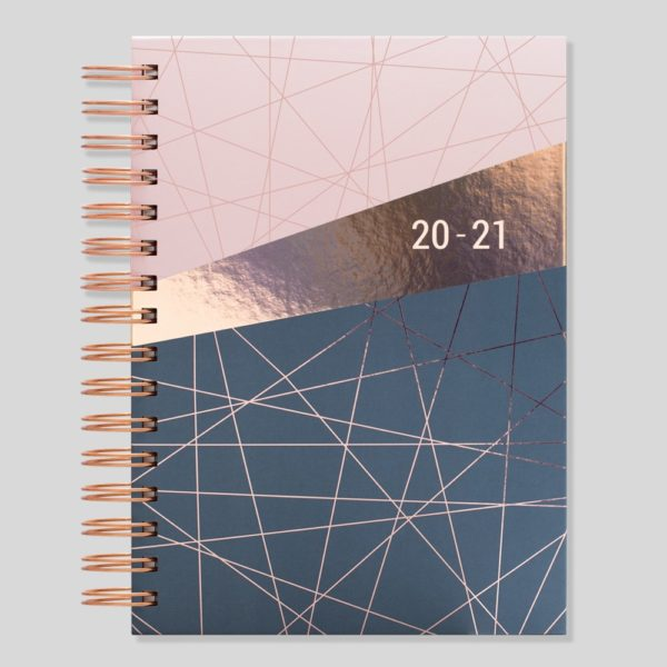 Stationery New A5 Wiro Gold Heart 2019-20 Day a Page Academic Diary Flexi