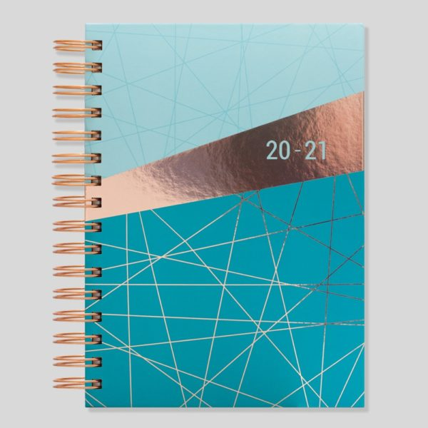 Matilda Myres 2020-21 Rose Gold Wiro A5 Daily Mid Year Diary – Teal – MY105-02D