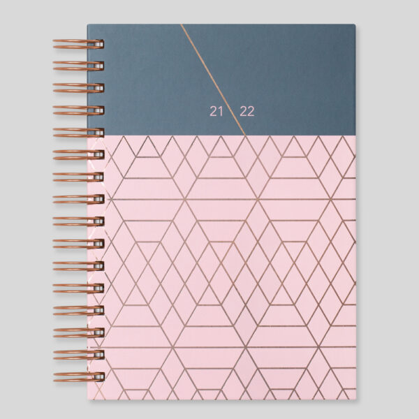 Matilda Myres 2021-22 Rose Gold Wiro A5 Daily Mid Year Diary – Pink – MY105-01D