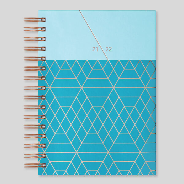 Matilda Myres 2021-22 Rose Gold Wiro A5 Daily Mid Year Diary – Teal – MY105-02D