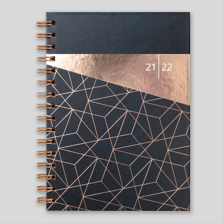 Black A5 Weekly Diary 2021-22