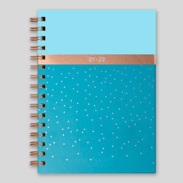 Matilda Myres 2021-22 Rose Gold Wiro A5 Weekly Mid Year Diary – Teal – MY105-02W