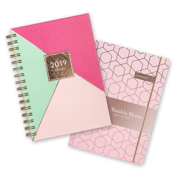 Matilda Myres 2019 Rose Gold Diary & Notebook – Centre