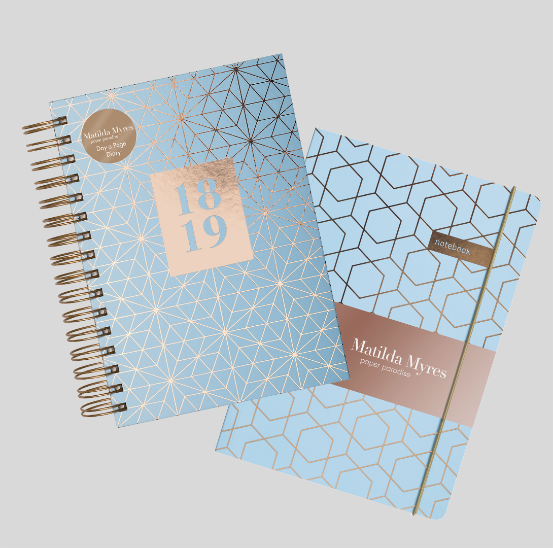 Stationery set diary and notebook