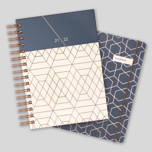 Matilda Myres 2021-22 Rose Gold Wiro A5 Daily Mid Year Diary & Notebook Set – Grey