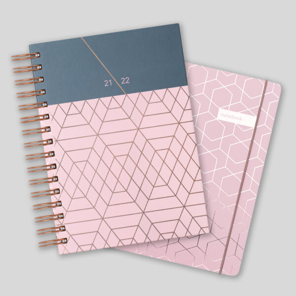 Matilda Myres 2021-22 Rose Gold Wiro A5 Daily Mid Year Diary & Notebook Set – Pink