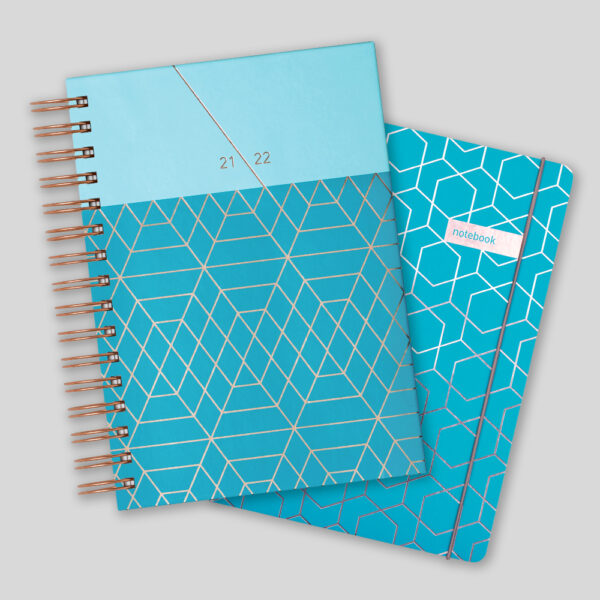 Matilda Myres 2021-22 Rose Gold Wiro A5 Daily Mid Year Diary & Notebook Set – Teal