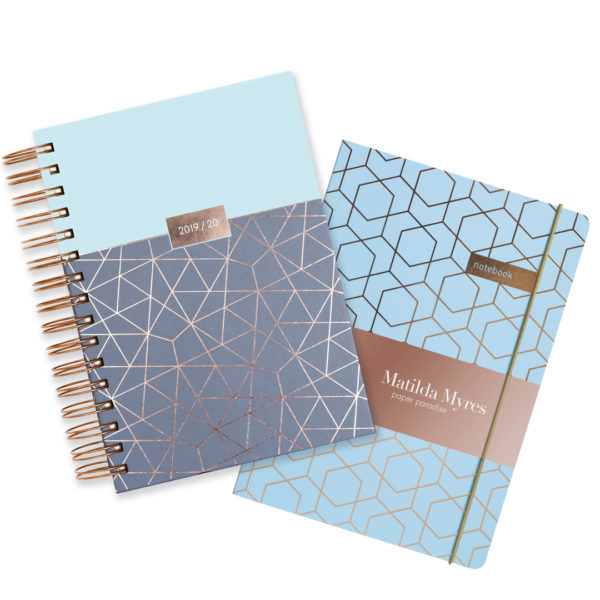 Matilda Myres 2019-20 Rose Gold Wiro A5 Daily Mid Year Diary & Notebook Set – Blue