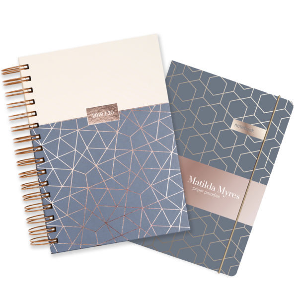 Matilda Myres 2019-20 Rose Gold Wiro A5 Daily Mid Year Diary & Notebook Set – Grey