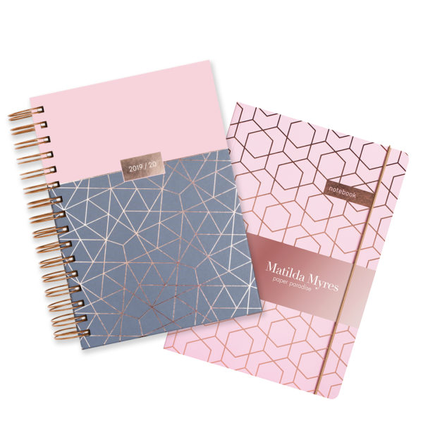 Matilda Myres 2019-20 Rose Gold Wiro A5 Daily Mid Year Diary & Notebook Set – Pink