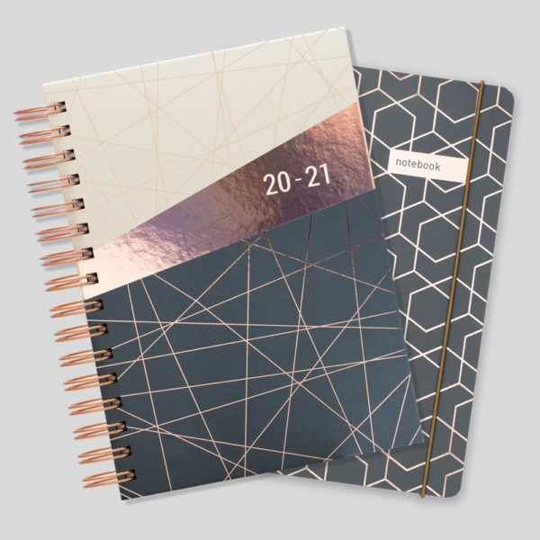 Matilda Myres 2020-21 Rose Gold Wiro A5 Daily Mid Year Diary & Notebook Set – Grey
