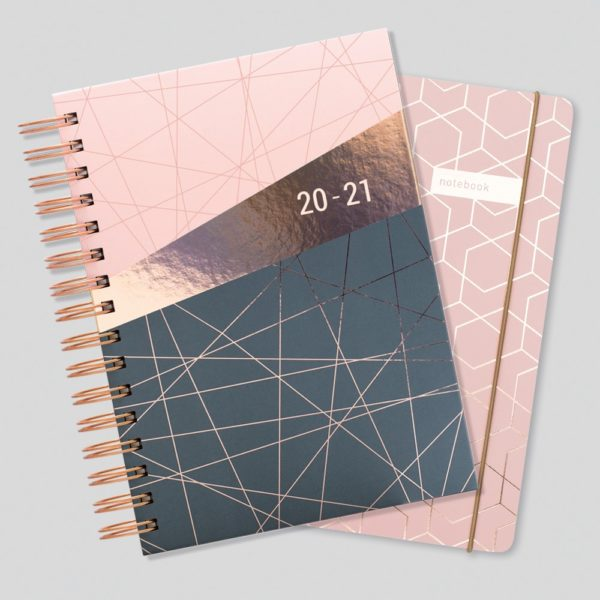 Matilda Myres 2020-21 Rose Gold Wiro A5 Daily Mid Year Diary & Notebook Set – Pink