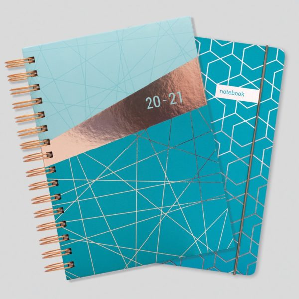 Matilda Myres 2020-21 Rose Gold Wiro A5 Daily Mid Year Diary & Notebook Set – Teal