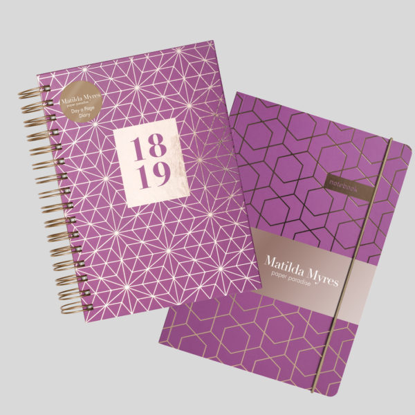 Matilda Myres 2018-19 Rose Gold Wiro A5 Daily Diary & Notebook Set – Plum