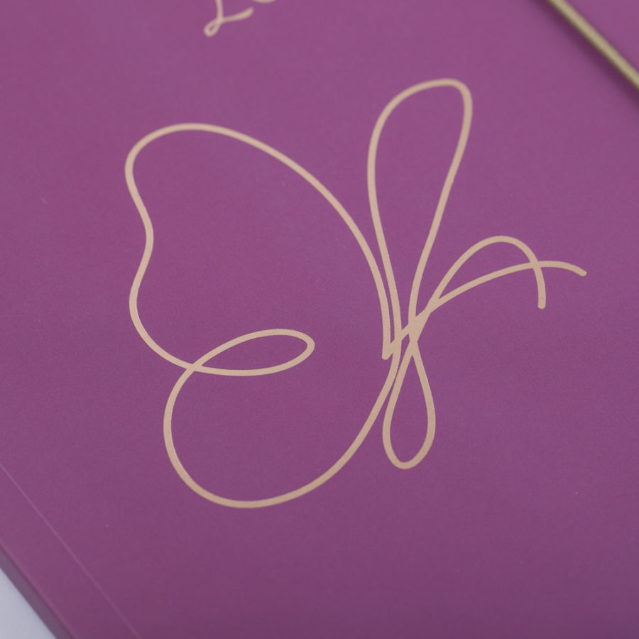 Rose Gold Butterfly on Purple