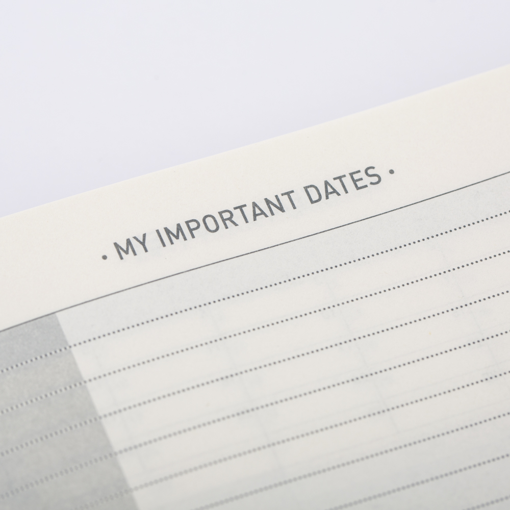 Fill in your important dates beside public holidays