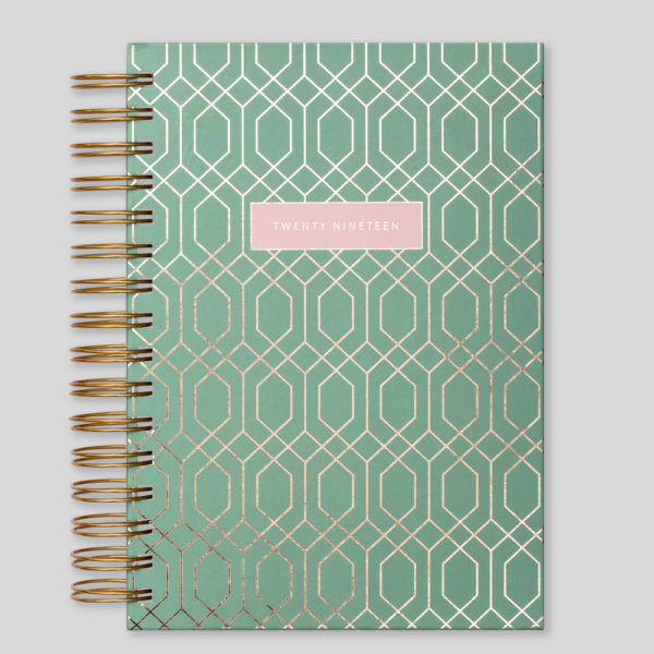 Matilda Myres 2019 Rose Gold Wiro A5 Daily Diary – Sage – MY115-01B