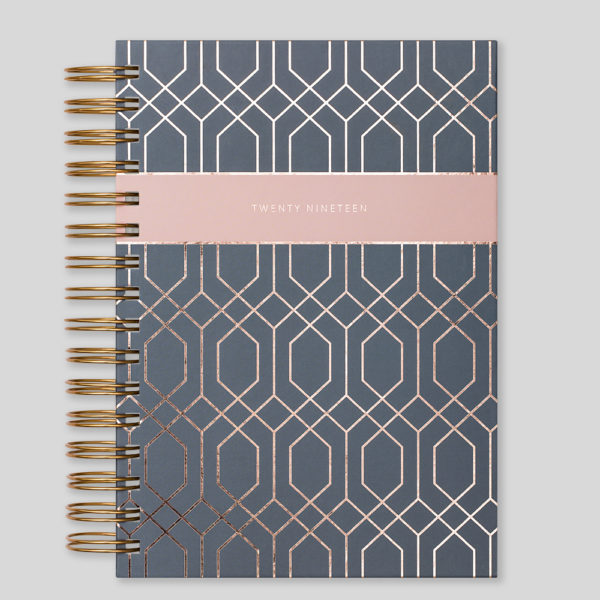 Matilda Myres 2019 Rose Gold Wiro A5 Daily Diary – Grey – MY115-01