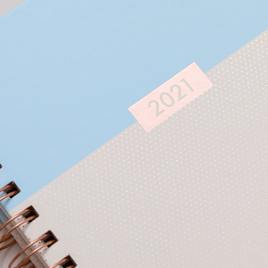 2021 A5 Rose Gold Diary Blue
