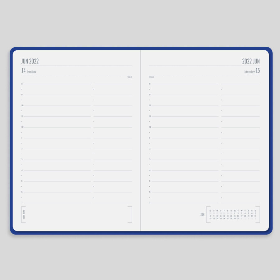 2022 Day a Page Diary Forbes Blue Layout