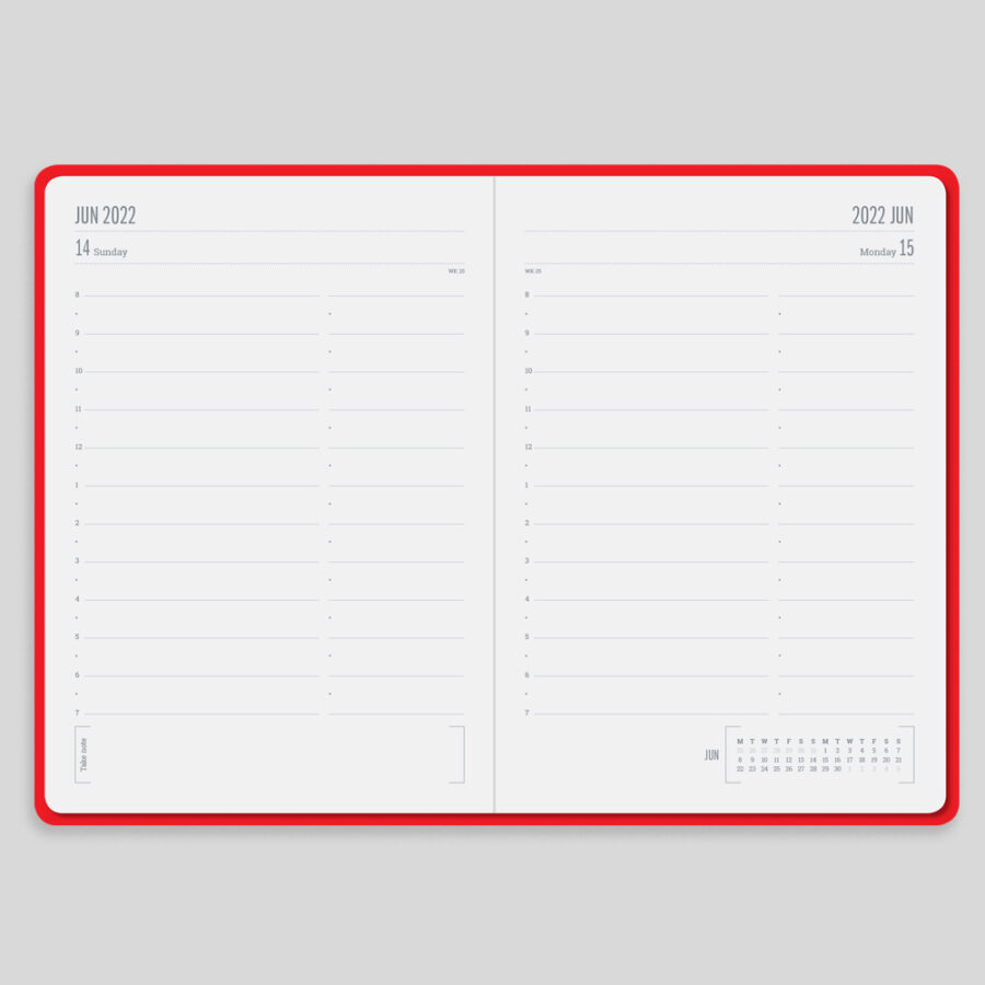 2022 Day a Page Diary Forbes Red Layout