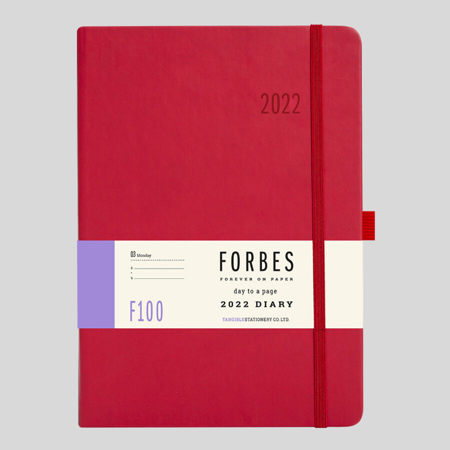 2022 Day a Page Diary Forbes Red