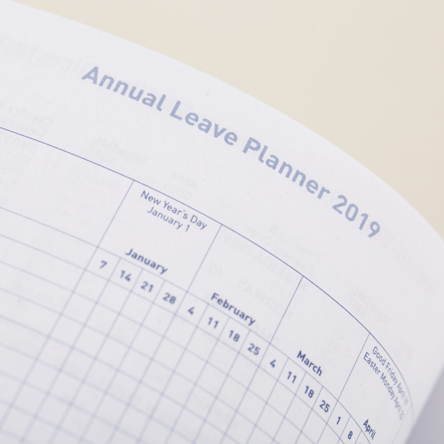 Annual leave planner in diary