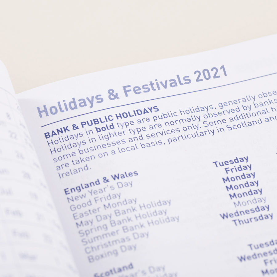 2021 A4 Weekly Diary Holidays