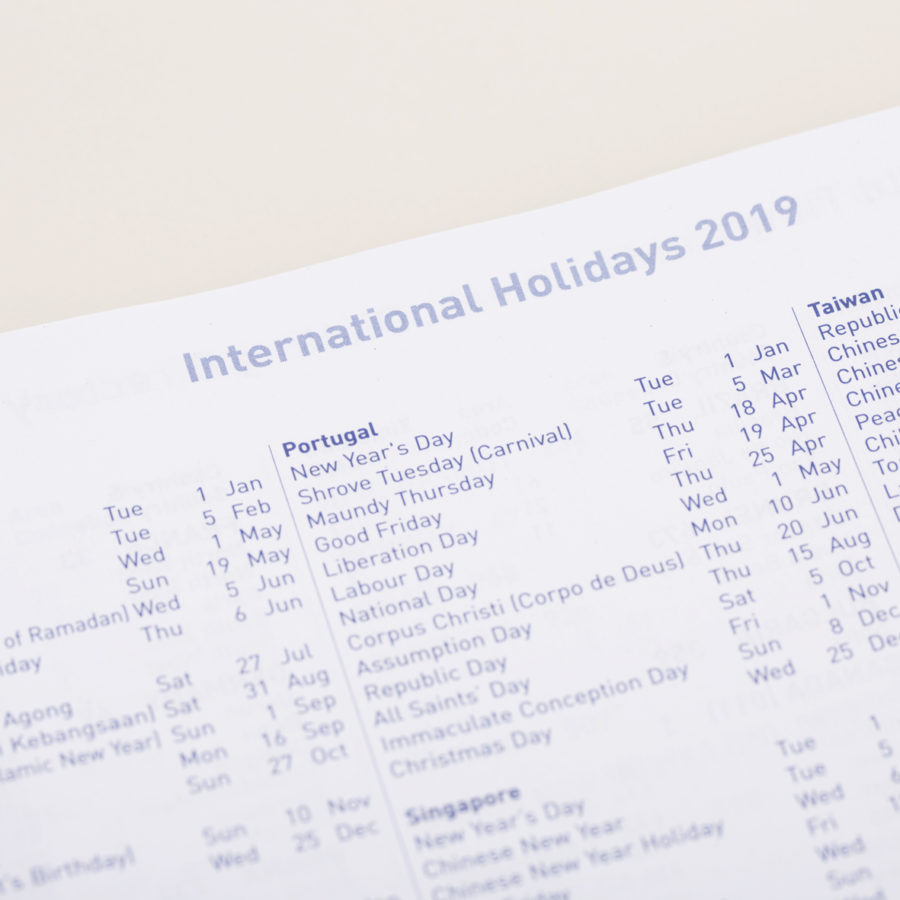 International Holidays in Diary
