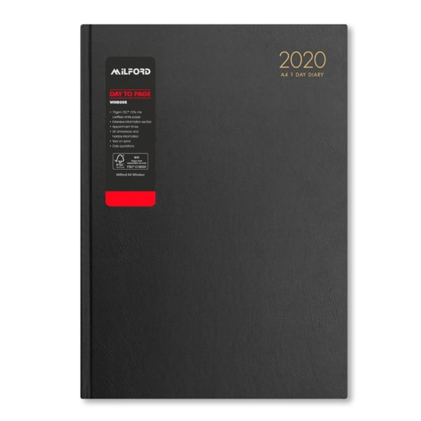 Milford 2020 A4 Daily Diary with Appts 441551-BLK