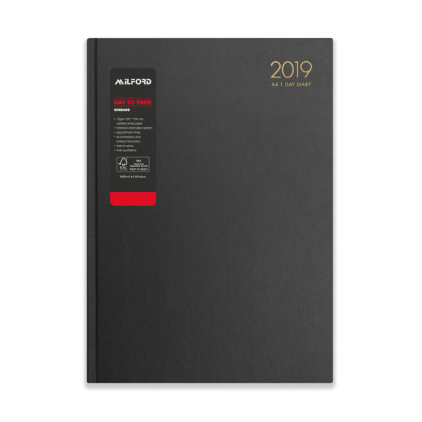 Milford 2019 A4 Daily Diary with Appts 441551-BLK