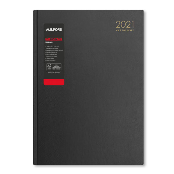 Milford 2021 A4 Daily Diary with Appts 441551-BLK