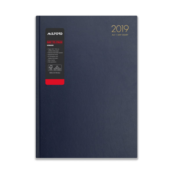 Milford 2019 A4 Daily Diary with Appts 441552-BLUE