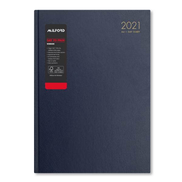 Milford 2021 A4 Daily Diary with Appts 441552-BLUE