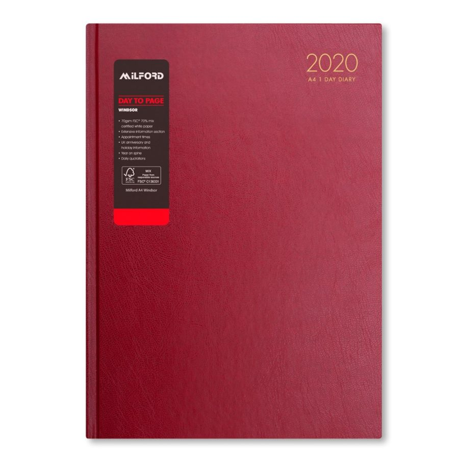 2020 A4 Desk Diary from Milford - 2020 Diary Burgundy