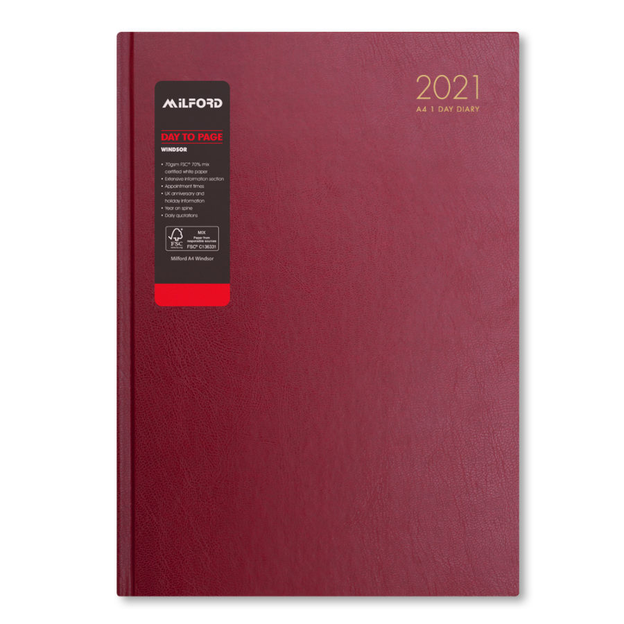 2021 A4 Diary Day a Page Red