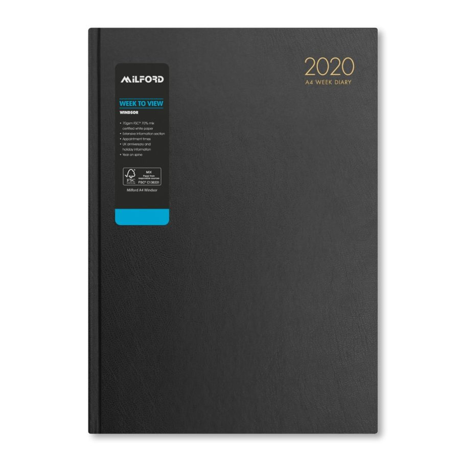 2020 A4 desk diary from Milford - 2020 diary black