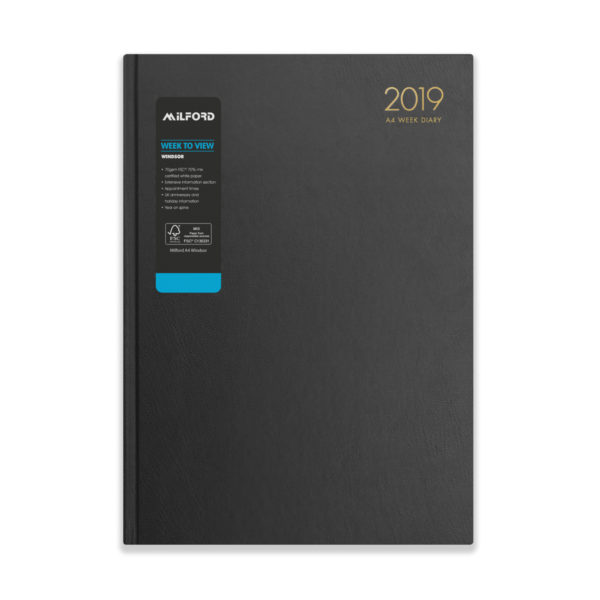 Milford 2019 A4 Weekly Diary with Appts 441554-BLK