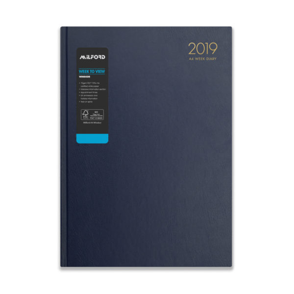 Milford 2019 A4 Weekly Diary with Appts 441555-BLUE