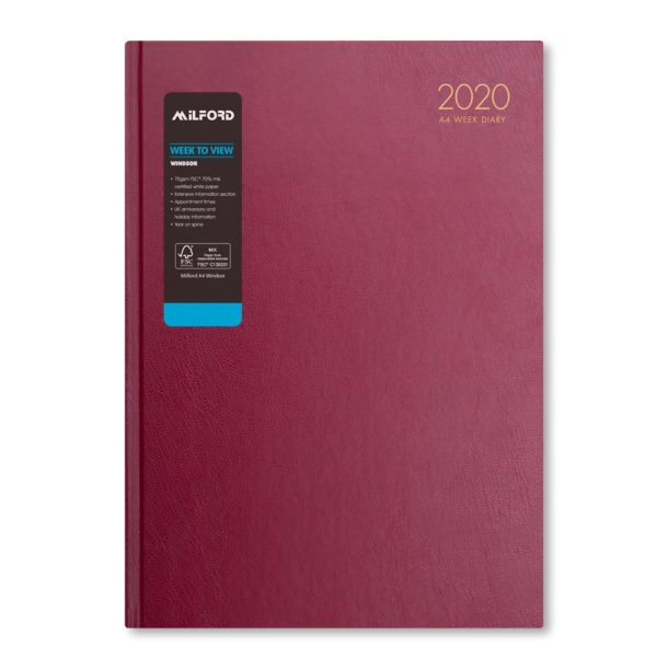 Milford 2020 A4 Weekly Diary with Appts 441556-BUR