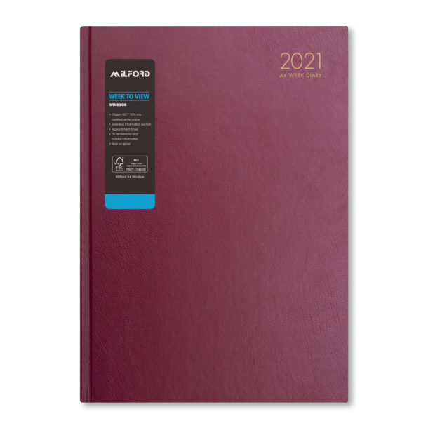 Milford 2021 A4 Weekly Diary with Appts 441556-BUR
