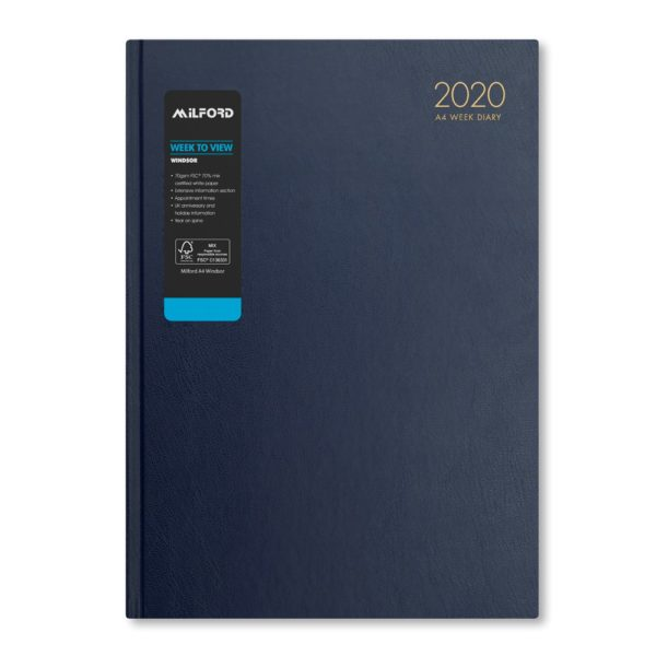 Milford 2020 A4 Weekly Diary with Appts 441555-BLUE