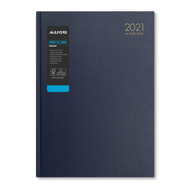 Milford 2021 A4 Weekly Diary with Appts 441555-BLUE