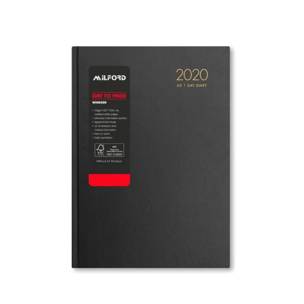 Milford 2020 A5 Daily Diary with Appts 441557-BLK