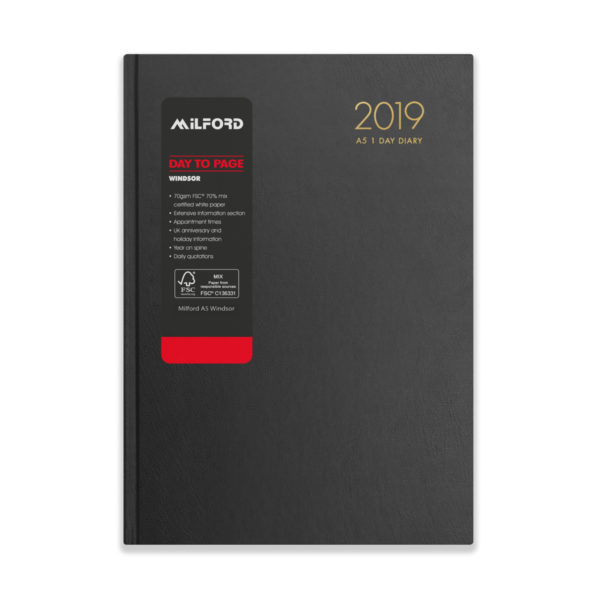 Milford 2019 A5 Daily Diary with Appts 441557-BLK