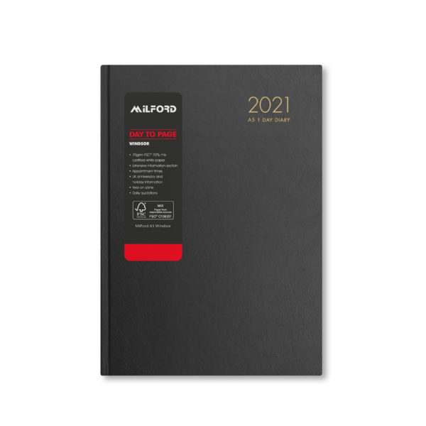 Milford 2021 A5 Daily Diary with Appts 441557-BLK
