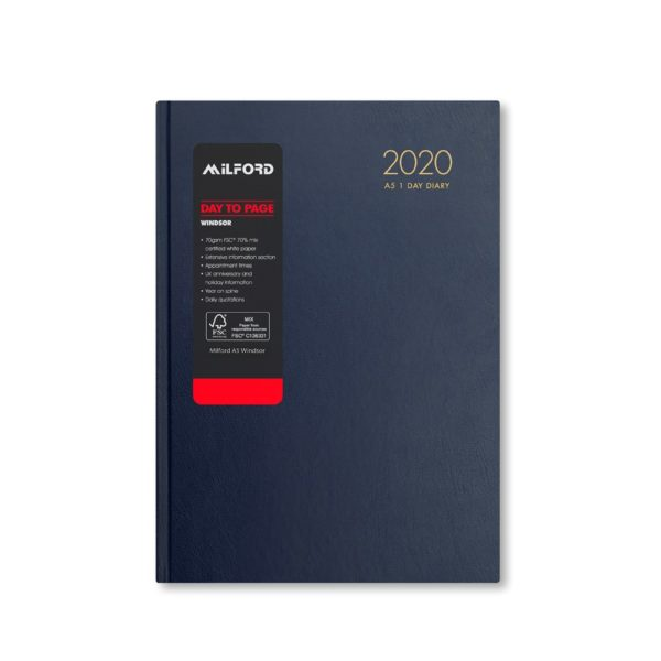 Milford 2020 A5 Daily Diary with Appts 441558-BLUE